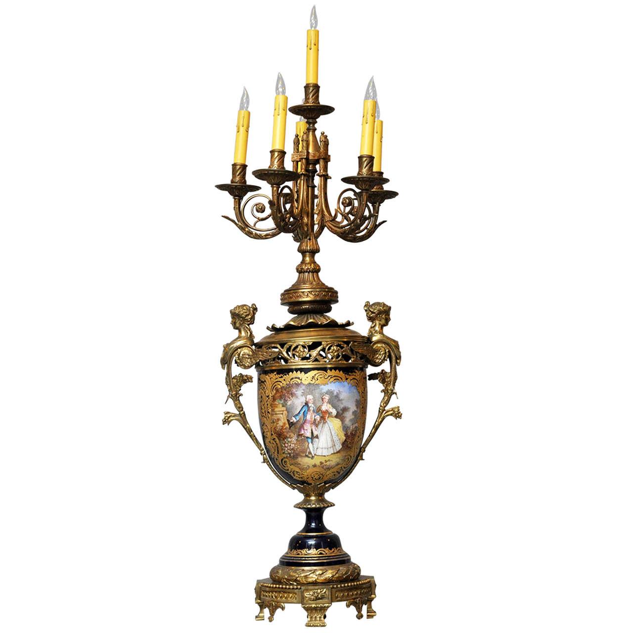 Monumental French Sèvres Cobalt Blue Porcelain Bronze Urn Candelabra Table  Lamp For Sale