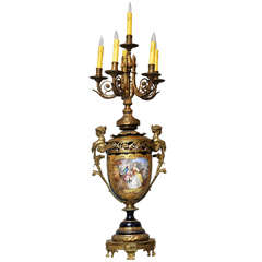 Monumental French Sèvres Cobalt Blue Porcelain Bronze Urn Candelabra Table Lamp