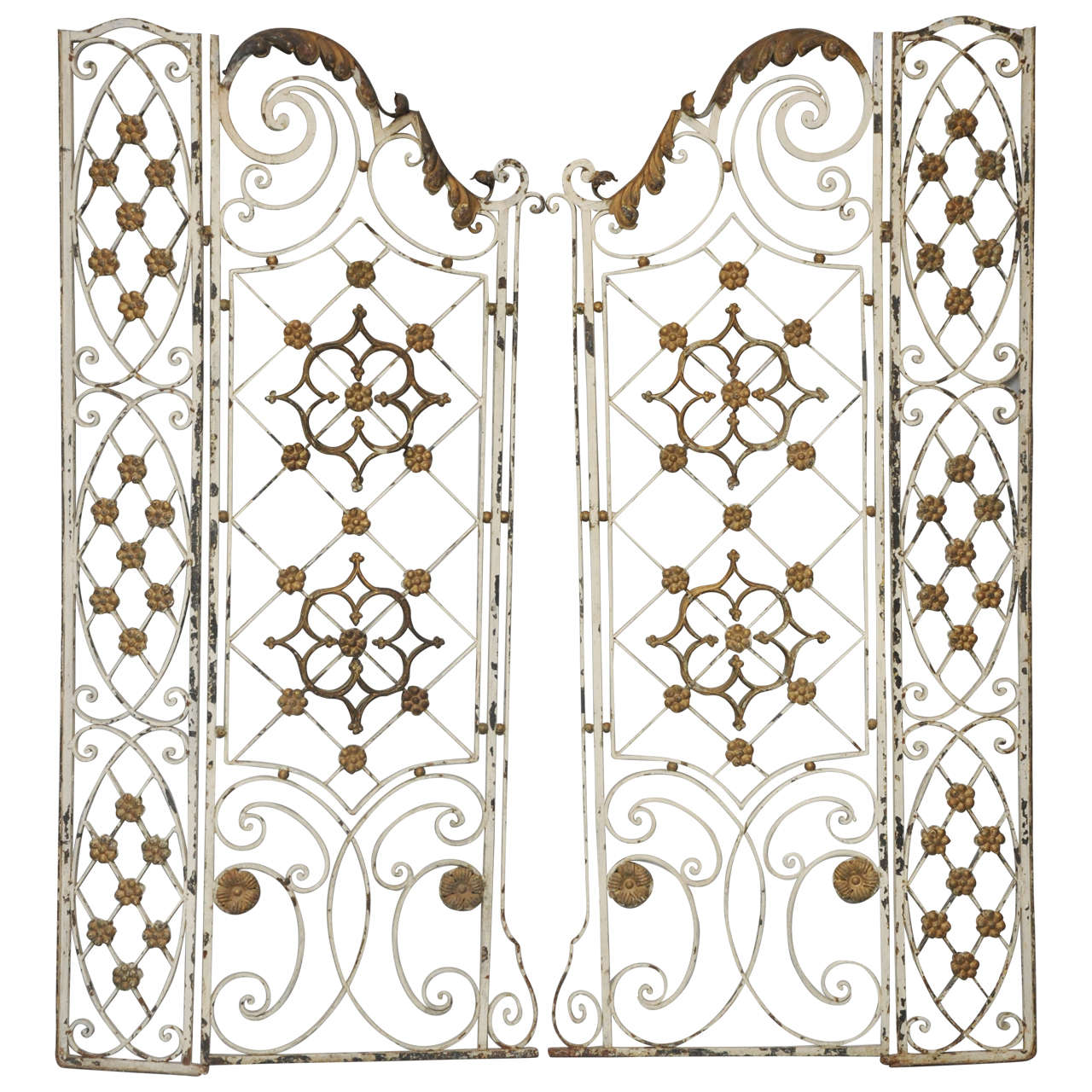 Pair of 19th Century French Painted Iron Gates