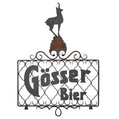 Antique Wrought Iron Gösser Beer Sign, Austria, 1920