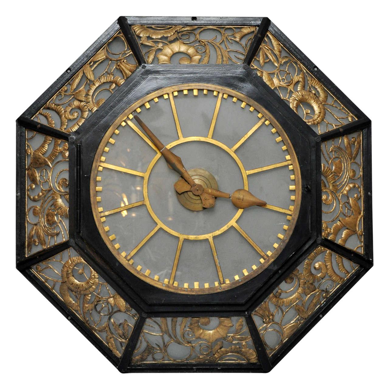 deco wall clock at 1stdibs
