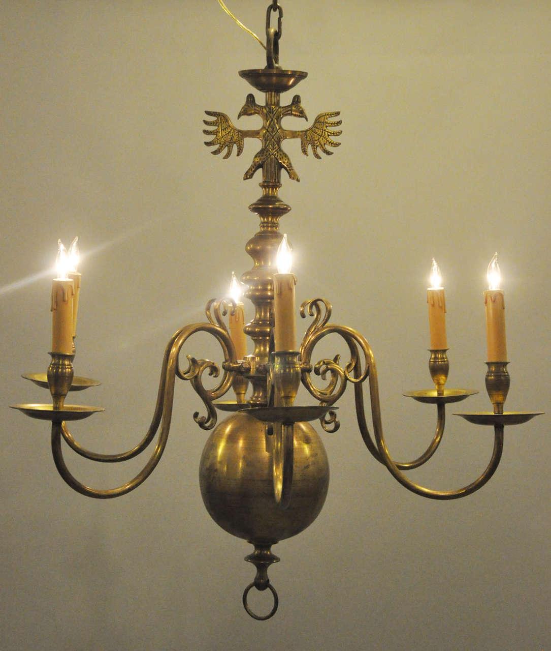 Classic2 Six Light Ring Chandelier: 19th Century Dutch Baroque Six-Light Chandelier For Sale