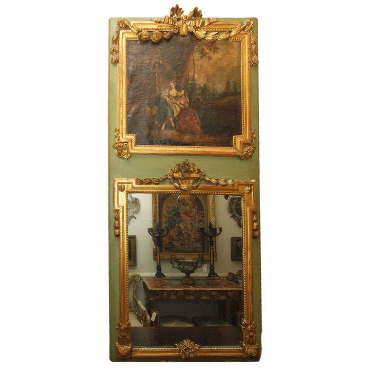 French Louis XVI Parcel Gilt Trumeau Mirror