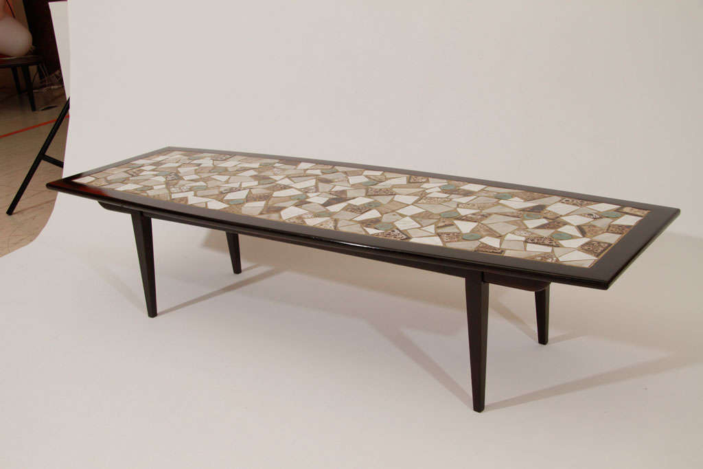 Mid Century Modern Mosaic Tile Top Coffee Table For