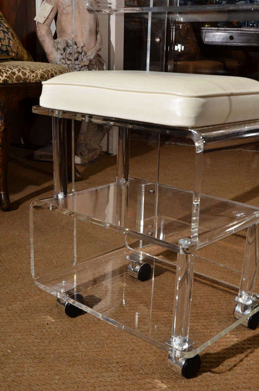 Groovy Acrylic Make Up Table With Stool At 1stdibs