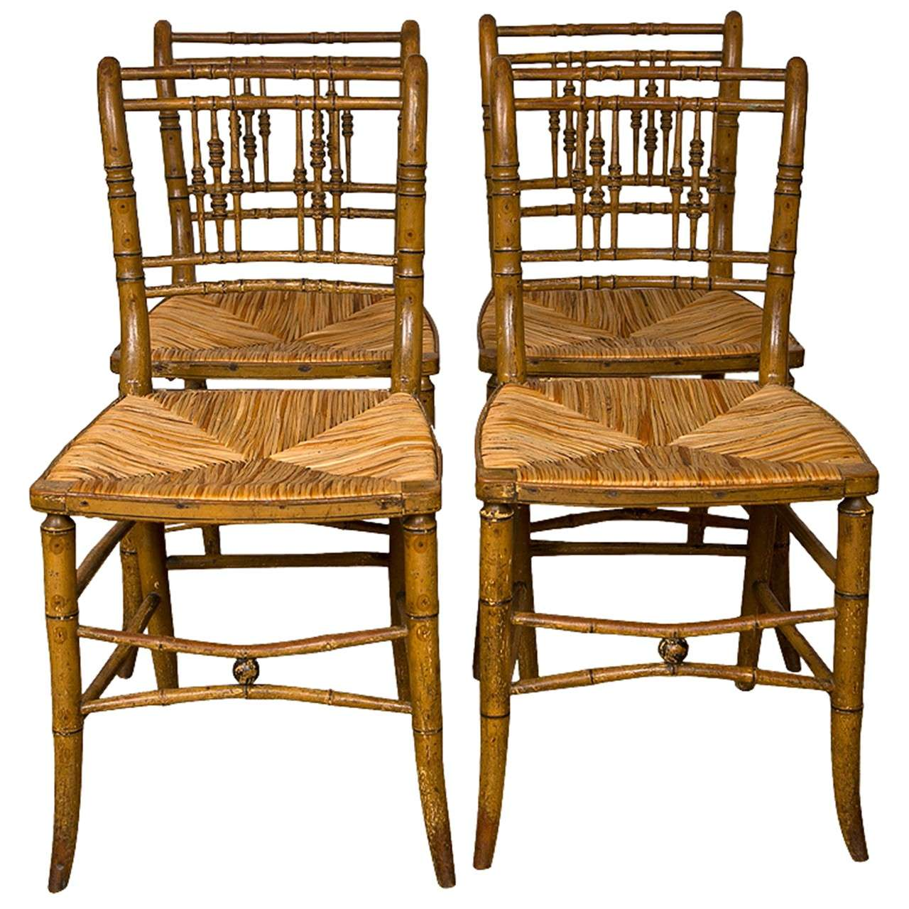 English Faux Bamboo Dining Chairs At 1stdibs