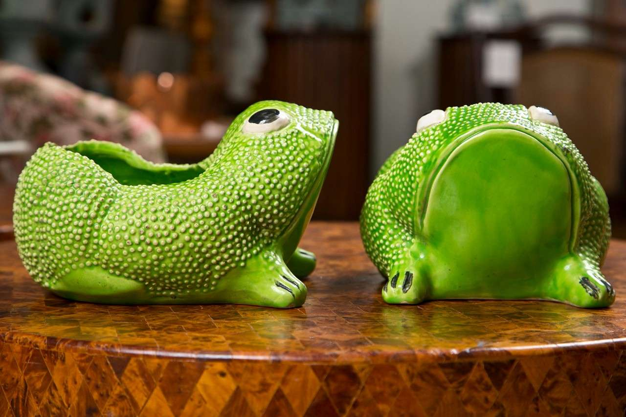 Ca 1940 S French Frog Flower Pots At 1stdibs