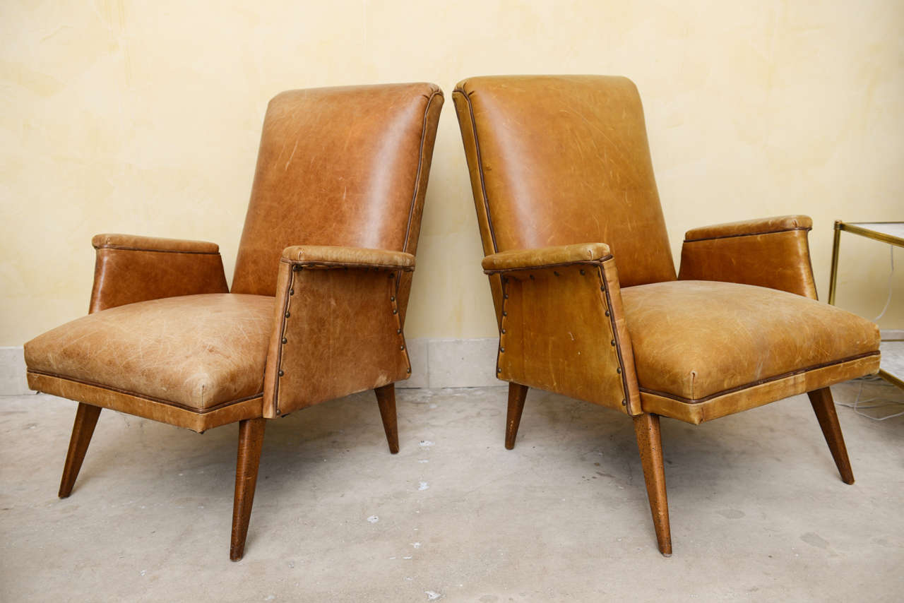 Mid century fabulous modern leather armchairs at 1stdibs for Modern furniture west palm beach