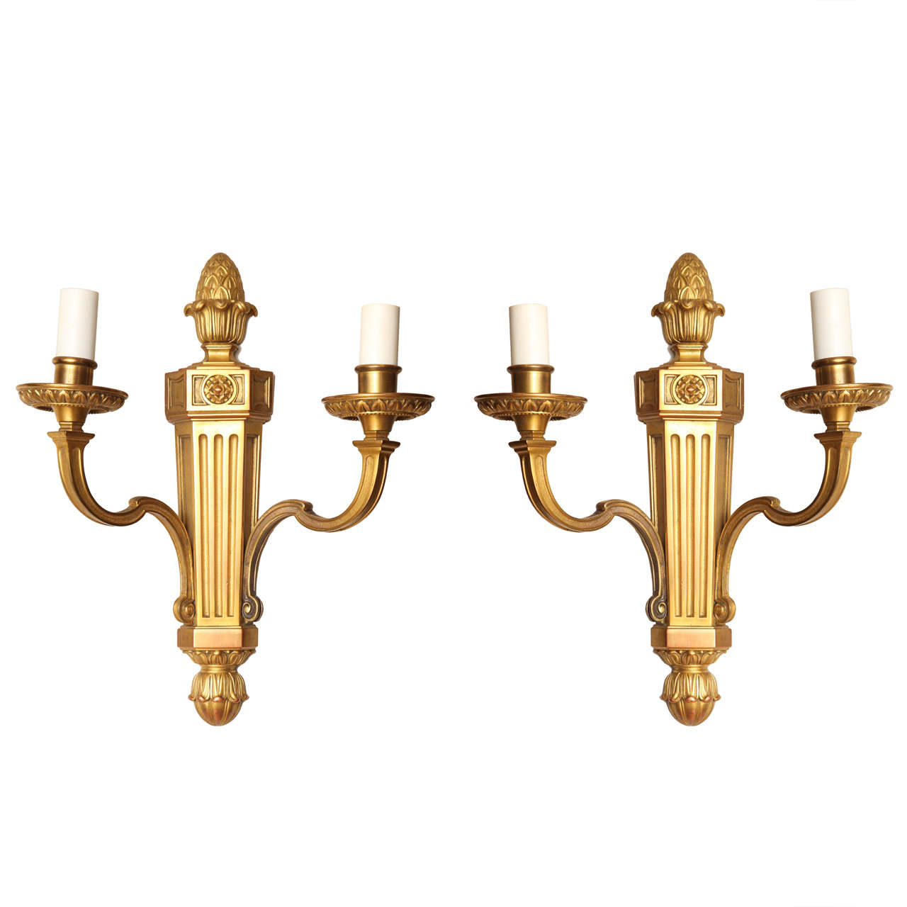 Pair of Louis XVI Two-Light Wall Sconces Attributed to Caldwell