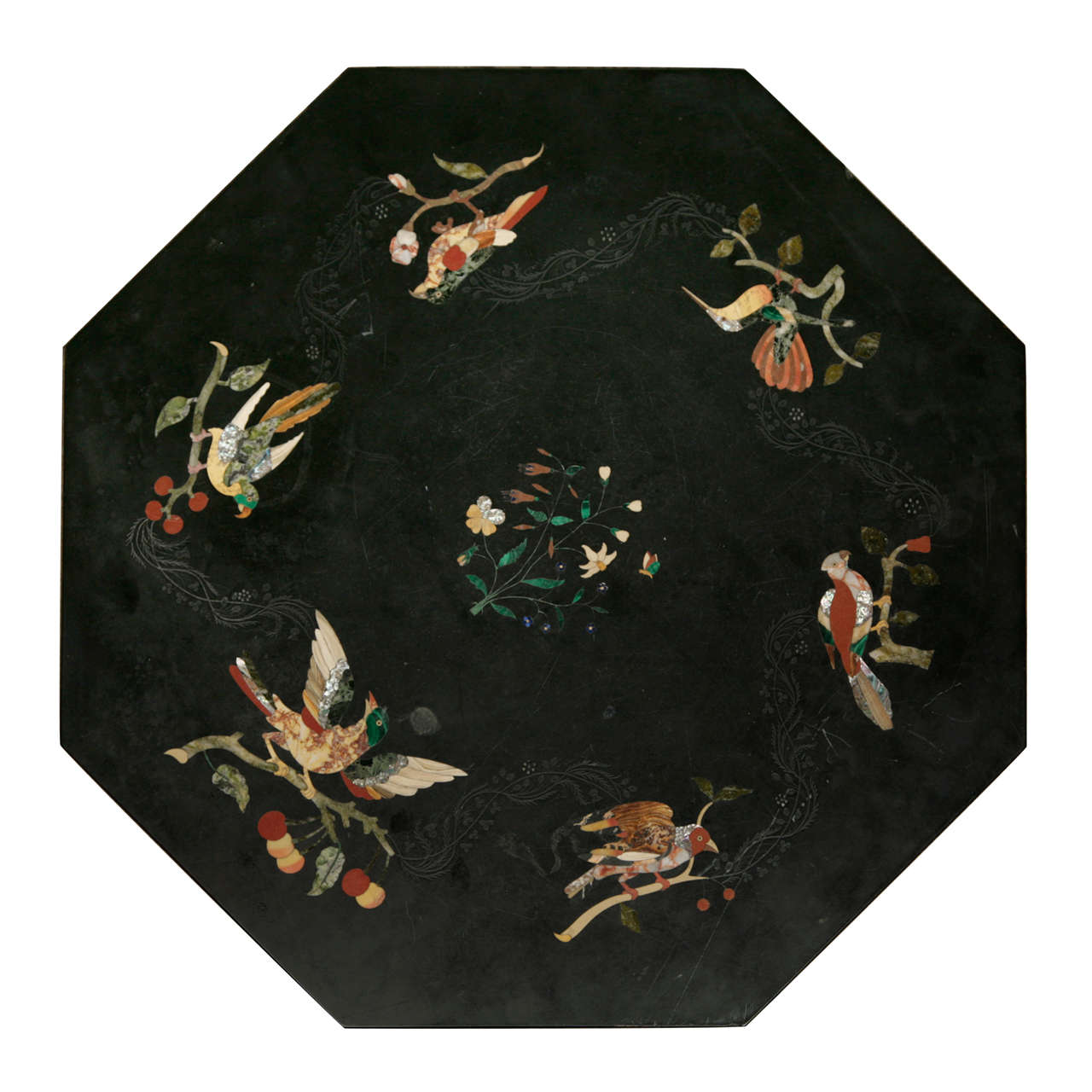 Marble table top - Octagonal Black Marble Table Top With Inlay Work 1