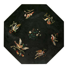 Octagonal Black Marble Table Top with Inlay Work