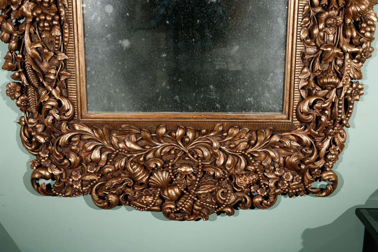 Monumental carved italian baroque antiqued mirror at 1stdibs for Italian baroque mirror