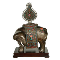 Jeweled Elephant on Wood Stand