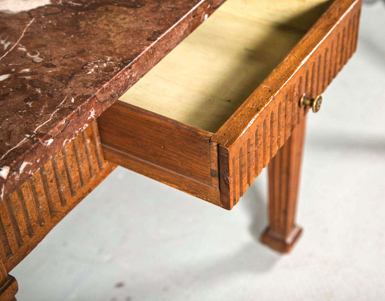 Italian square fluted apron and leg walnut table with