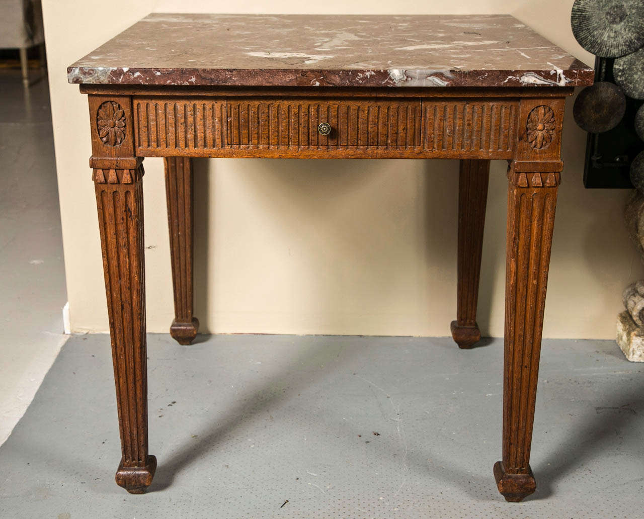 Italian Square Fluted Apron And Leg Walnut Table With Siena Marble Top 2