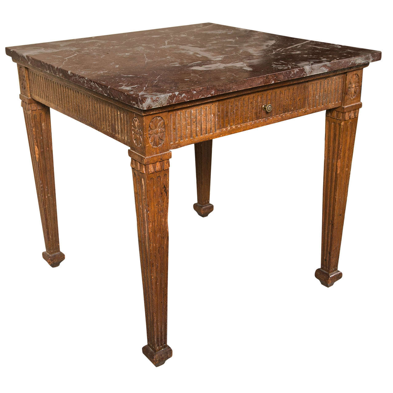 Italian Square fluted Apron and Leg Walnut Table with Siena Marble Top
