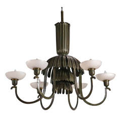 Art Deco Six Light Chandelier