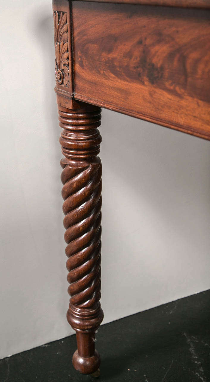 19thc Mahogany Dropleaf Table With Spiral Legs By