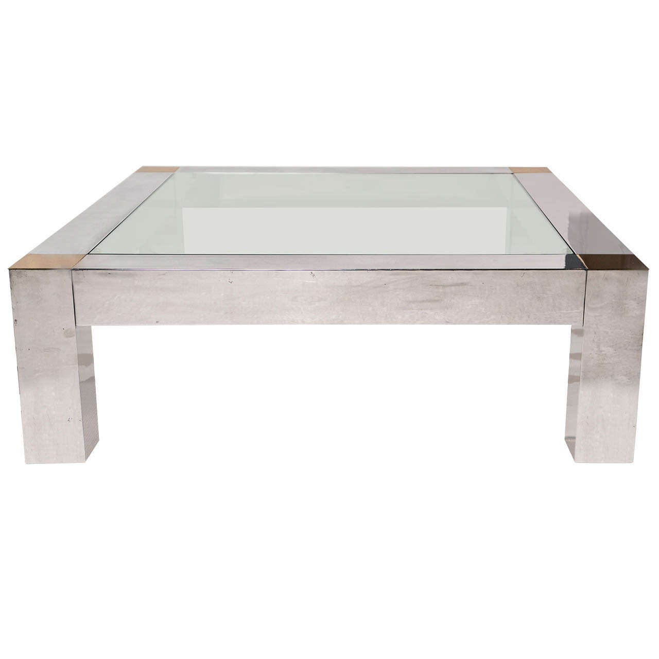 Vintage Polished Brass And Aluminum Chunky Coffee Table At 1stdibs