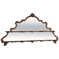 Early 19th C Italian Walnut Framed Mirror with Plate Stand Niches
