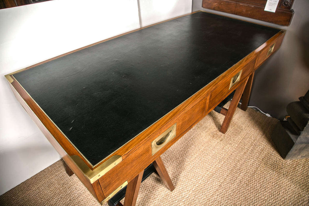 British 1960 S Paduck Wood Campaign Desk With Brass Hardware And Leather Top For