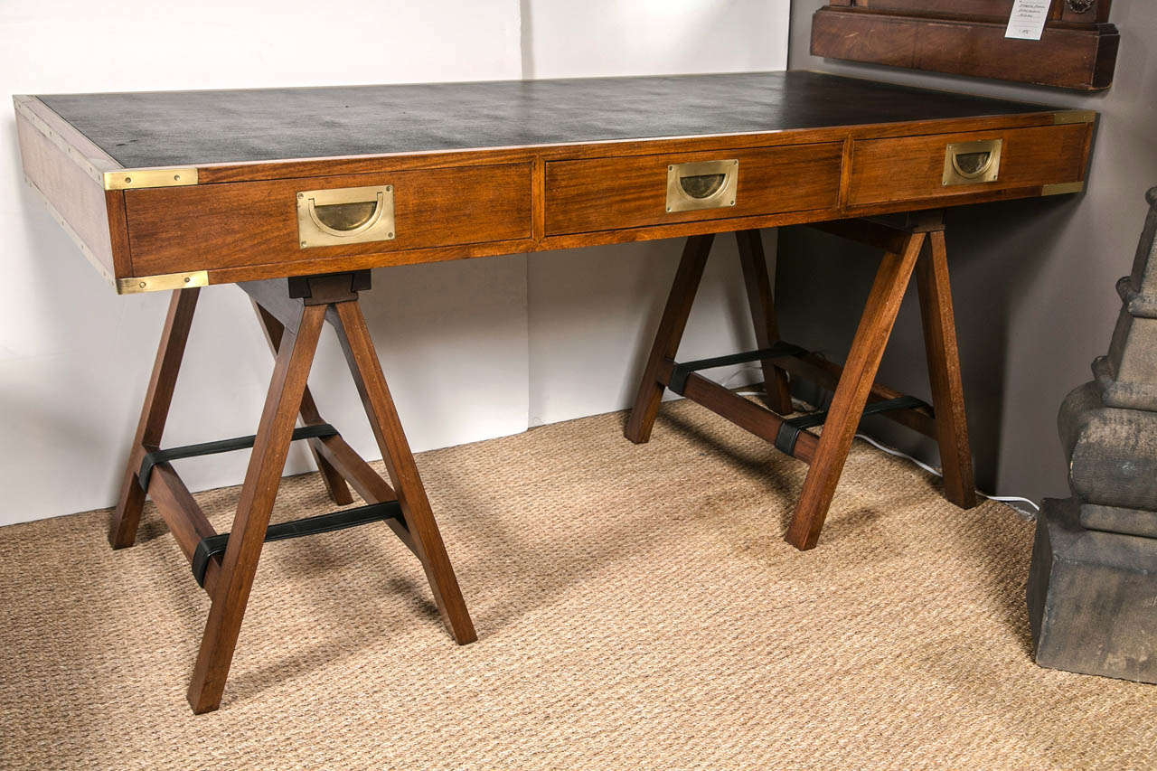 1960 S 1970 Paduck Wood Campaign Desk With Brass Hardware And Leather Top