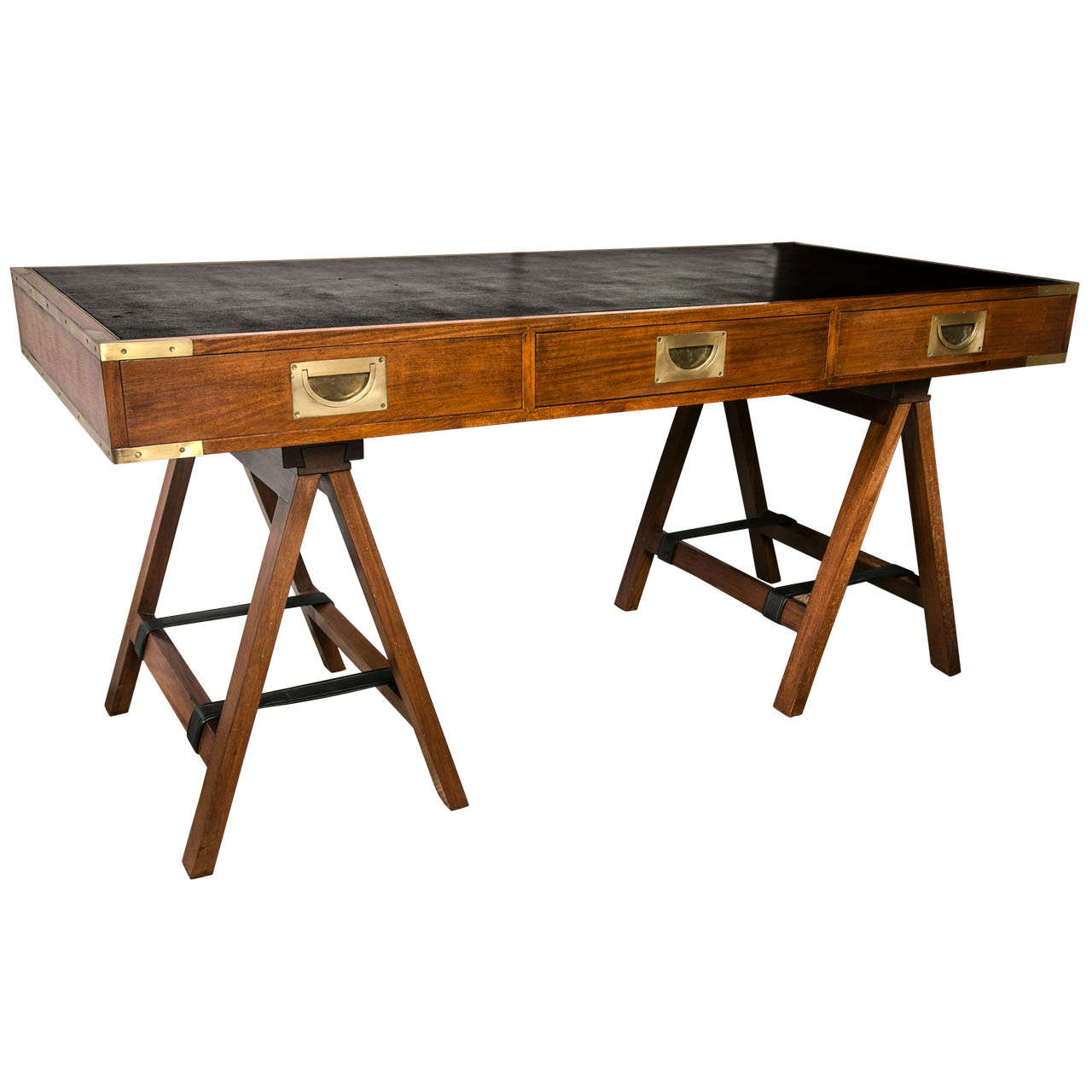 1960 S Paduck Wood Campaign Desk With Br Hardware And Leather Top For