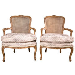 Pair of Louis XV Style Caned Back Armchairs with Down Seat Cushion