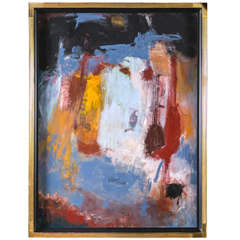 Ray Lagstein Abstract Acrylic on Canvas Contemporary Art set In Gilded Gold Frame