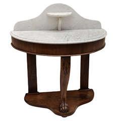 English William IV Demi Lune Marble Top Washstand