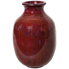 Frederic Kiefer French Art Deco Red Stoneware Vase