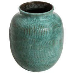 Louis Delachenal French Art Deco Blue or Green 'Turquoise' Stoneware Vase