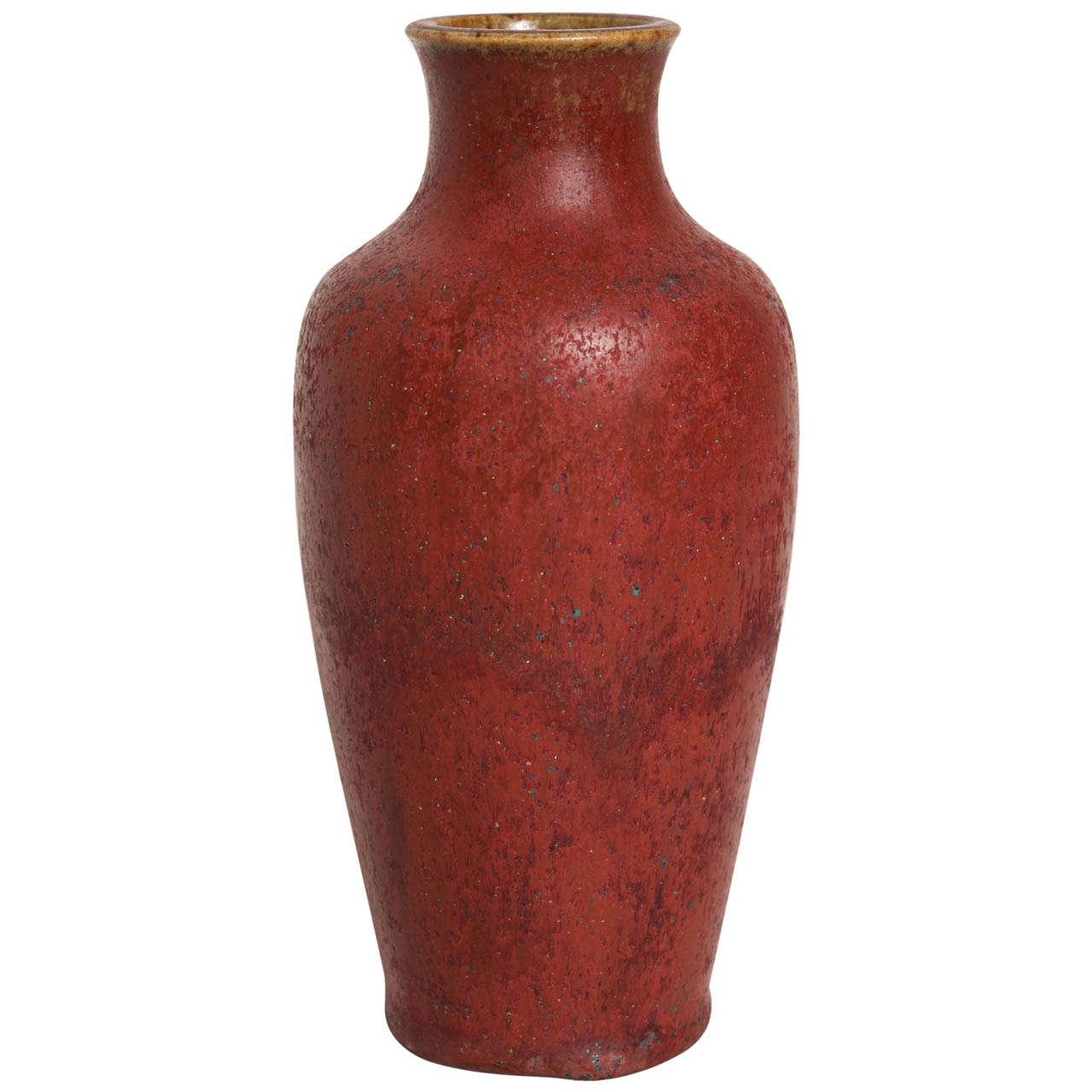 mile decoeur art deco red stoneware vase at 1stdibs. Black Bedroom Furniture Sets. Home Design Ideas