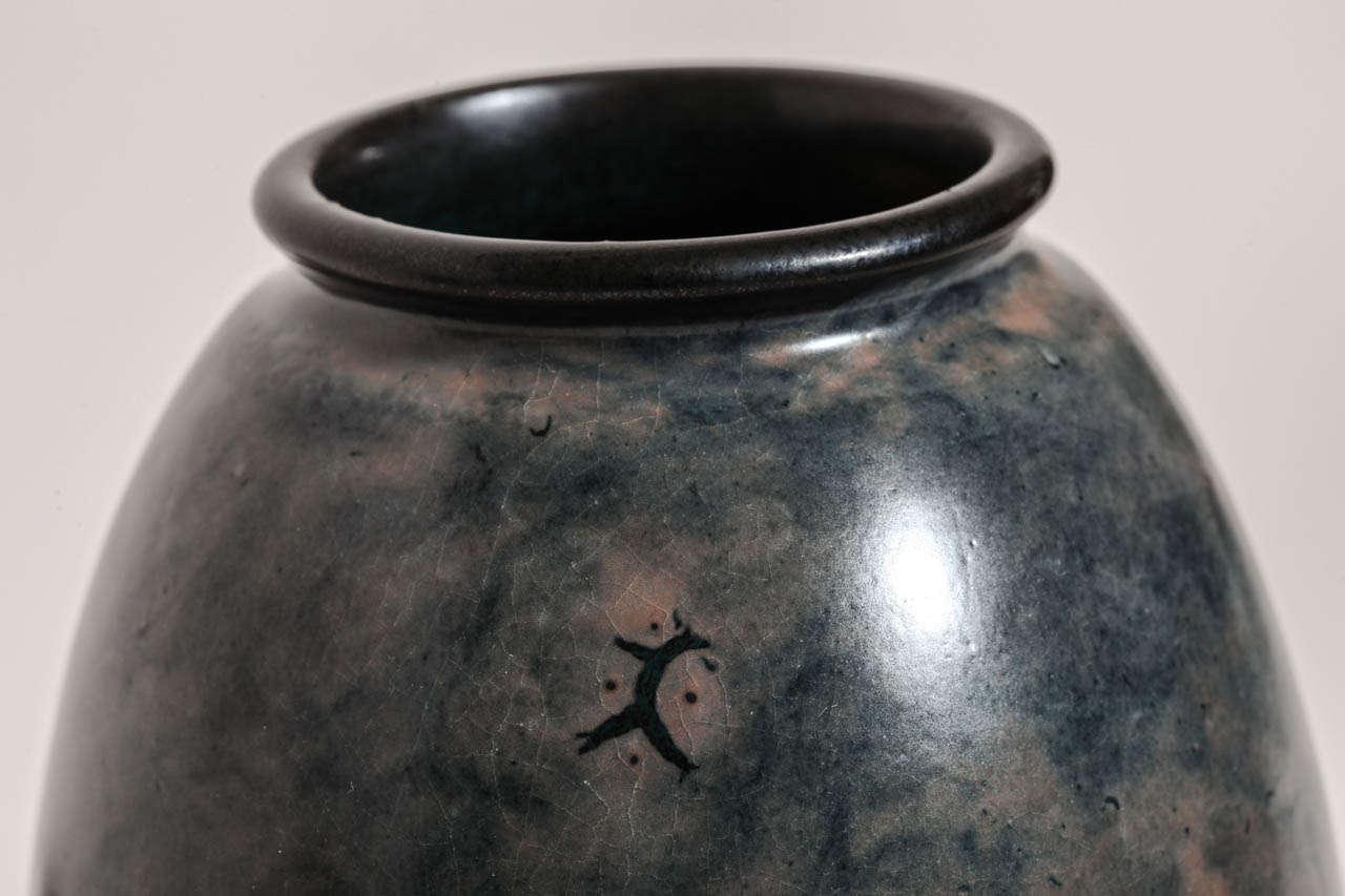 20th Century Emile Decoeur French Art Deco Blue Stoneware Vase For Sale