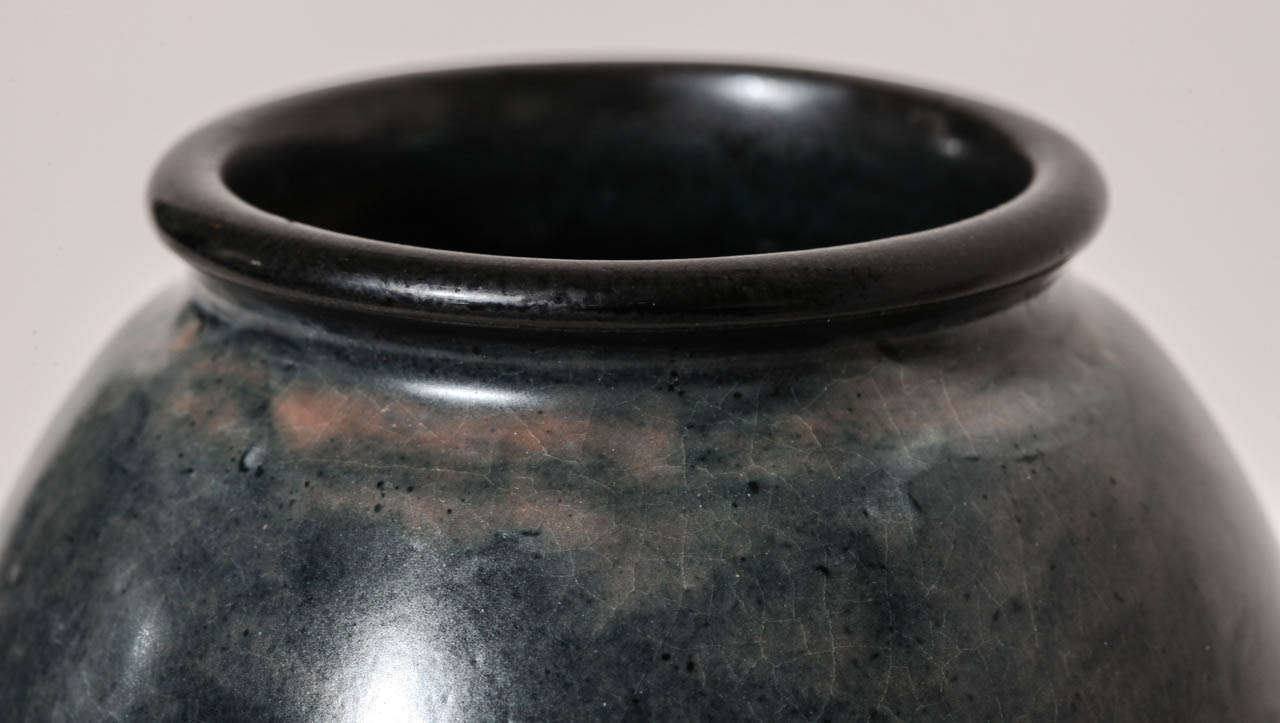 Emile Decoeur French Art Deco Blue Stoneware Vase For Sale 1