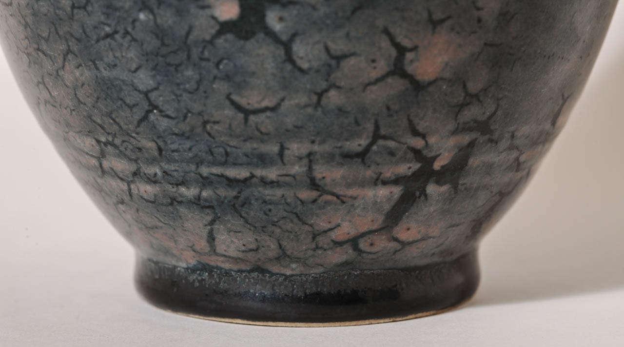 Emile Decoeur French Art Deco Blue Stoneware Vase For Sale 2