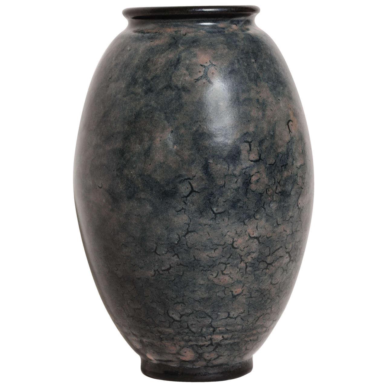 Emile Decoeur French Art Deco Blue Stoneware Vase For Sale