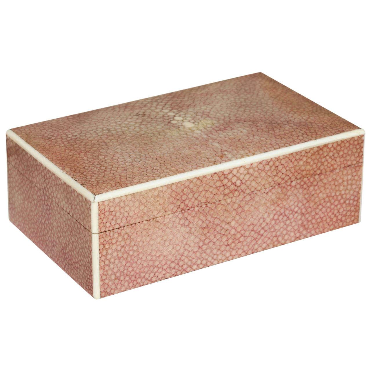 English Art Deco Red Shagreen Box