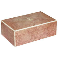 English Art Deco Red Shagreen Box