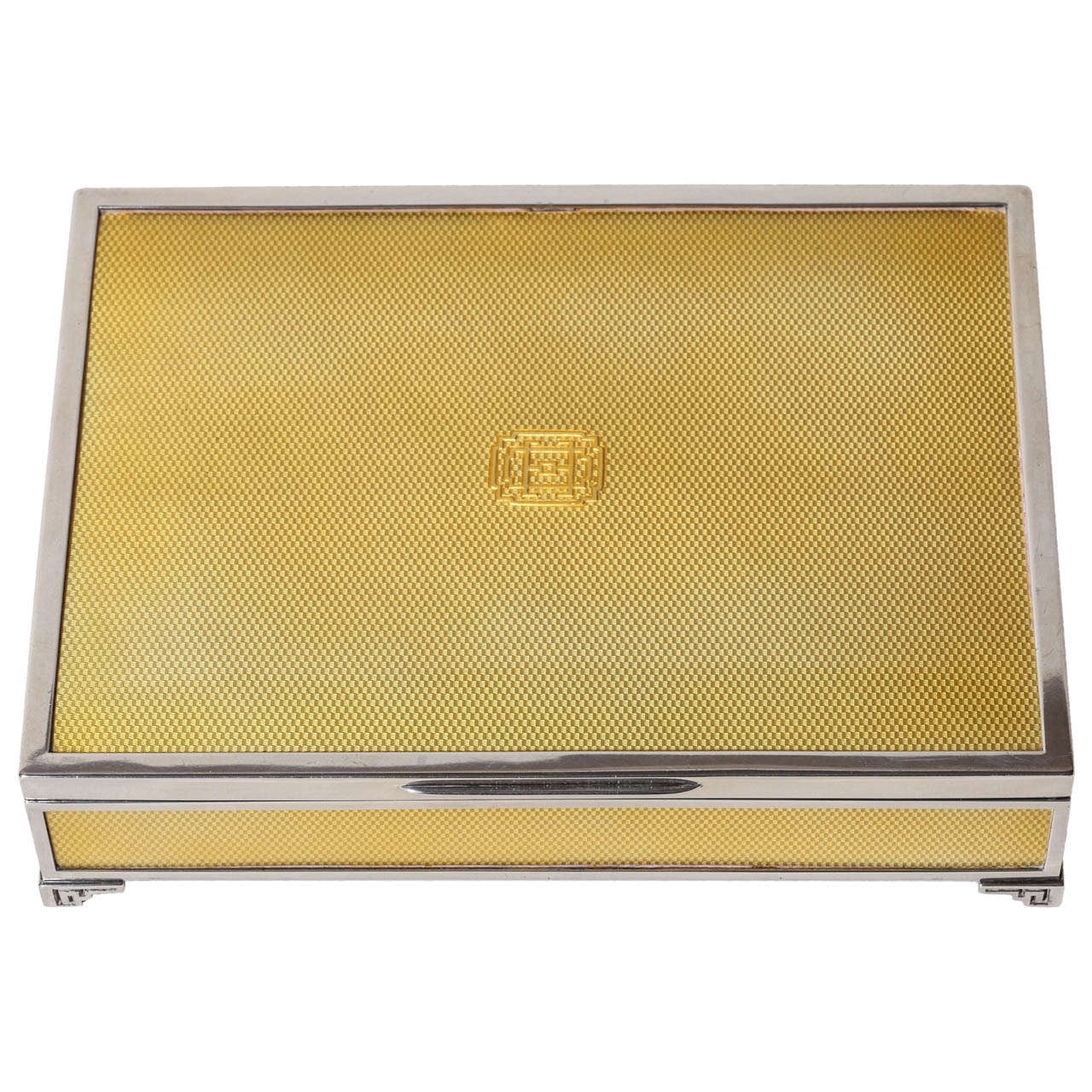 Jacques Cartier French Art Deco Sterling Silver and Yellow Enamel Box
