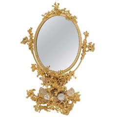 Signed Gilt Bronze and Rock Crystal Mirror by Claude Victor Boeltz, Paris