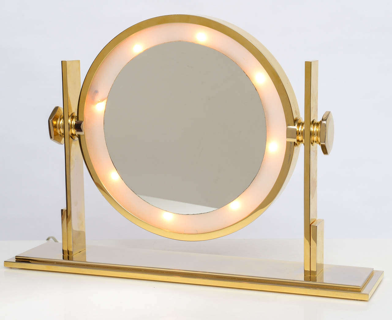 karl springer lighted table top vanity mirror at 1stdibs. Black Bedroom Furniture Sets. Home Design Ideas