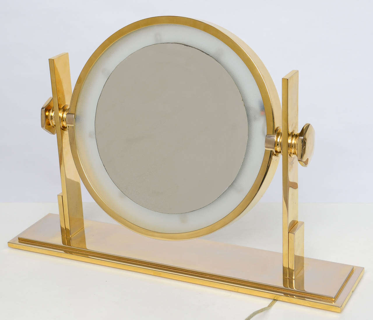 Karl springer lighted table top vanity mirror at 1stdibs for Vanity table with lighted mirror and bench