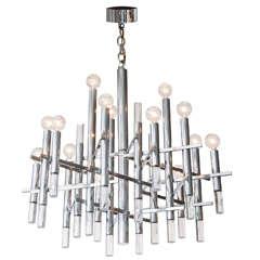Large Gaetano Sciolari 15-Light Polished Aluminum and Lucite Chandelier