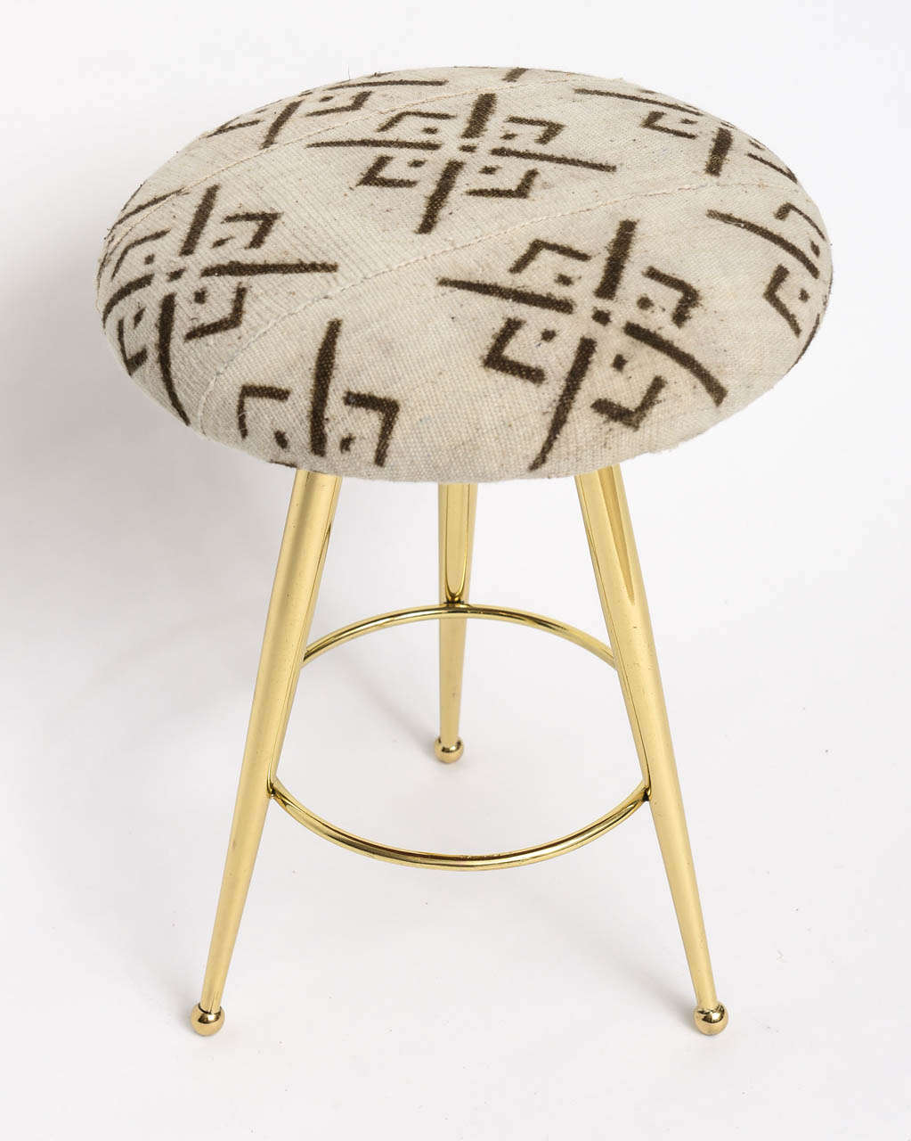 Mid-Century Modern Pair of 50's Italian Brass Stools with Vintage Mud Cloth Upholstery For Sale