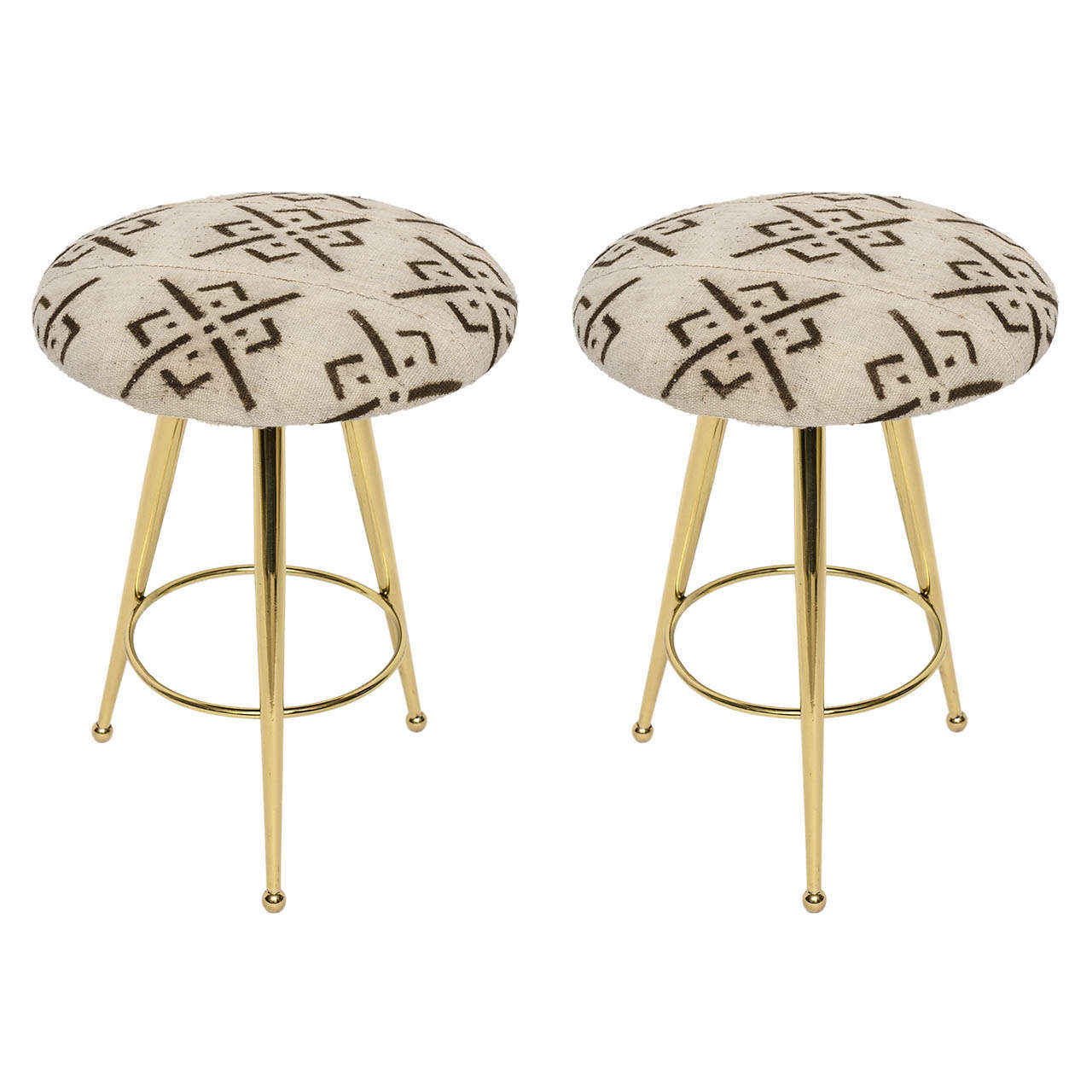 Pair of 50's Italian Brass Stools with Vintage Mud Cloth Upholstery For Sale