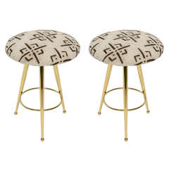 Pair of 50's Italian Brass Stools with Vintage Mud Cloth Upholstery