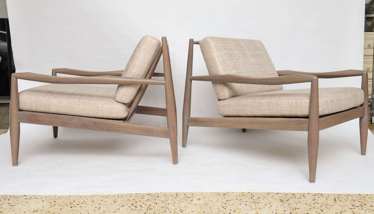 Mid Century Modern Pair Of Greige Walnut Chairs By Adrian Pearsall For Sale