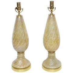 Pair of Barovier and Toso Yellow Murano Glass Lamps with Silver Inclusions