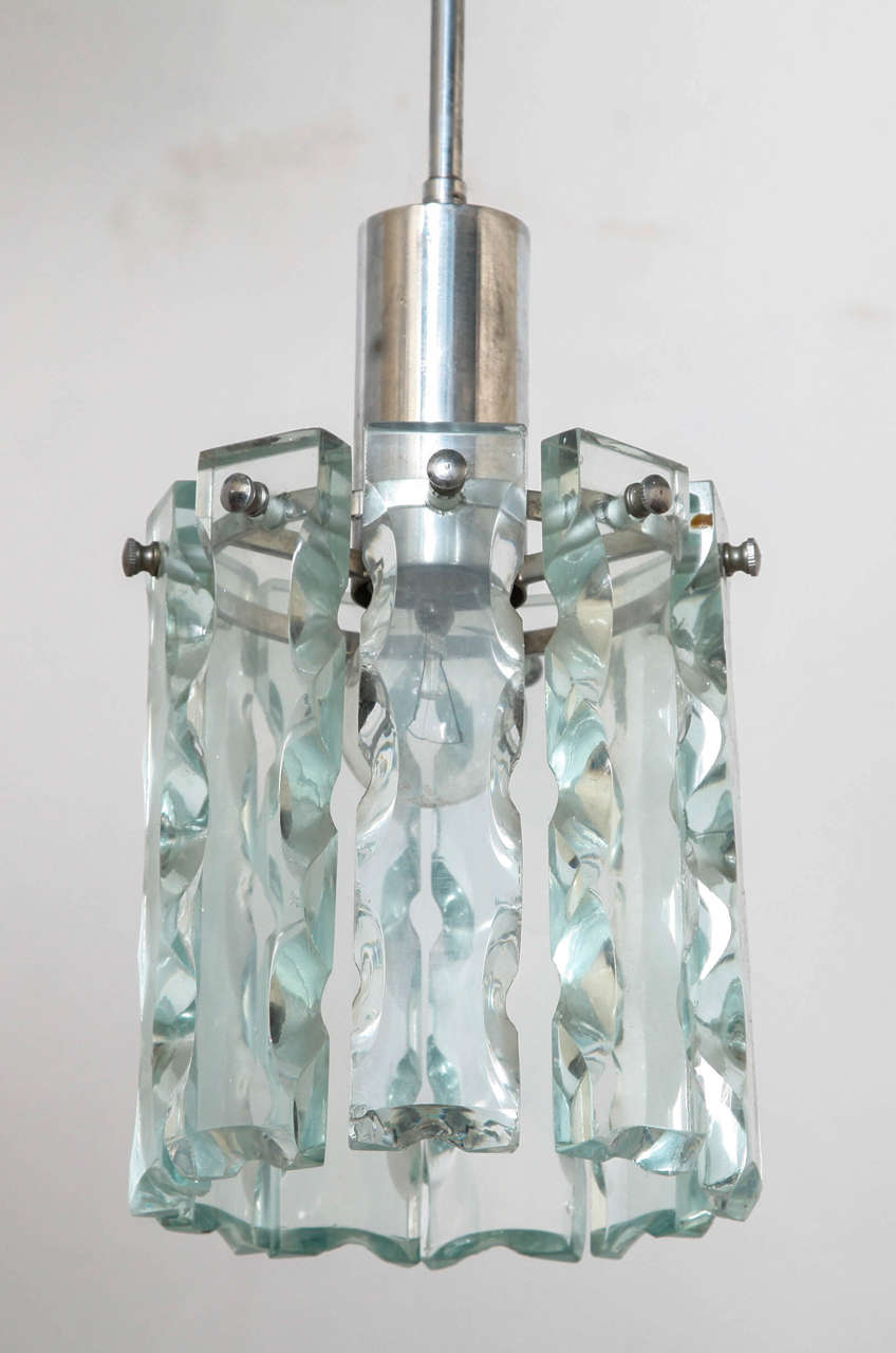 Mid-Century Modern Crystal Pendant in Style of Fontana Arte For Sale